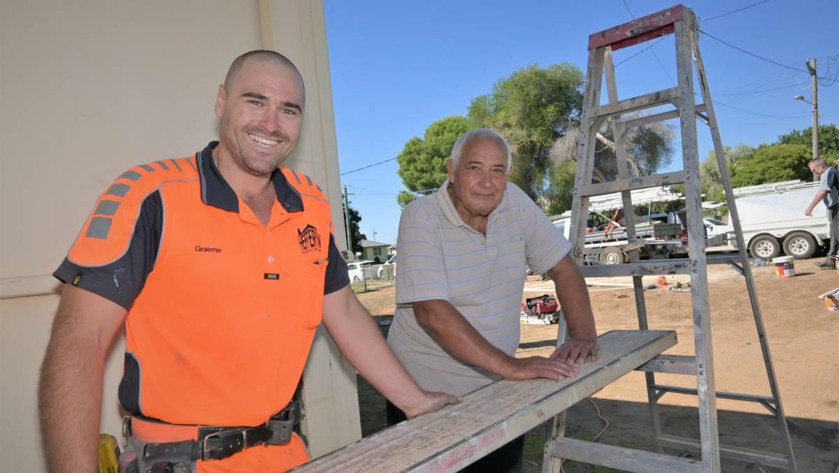 Carpenter Graeme Twyford and Matteo De Dominicis. Picture: Kenji Sato