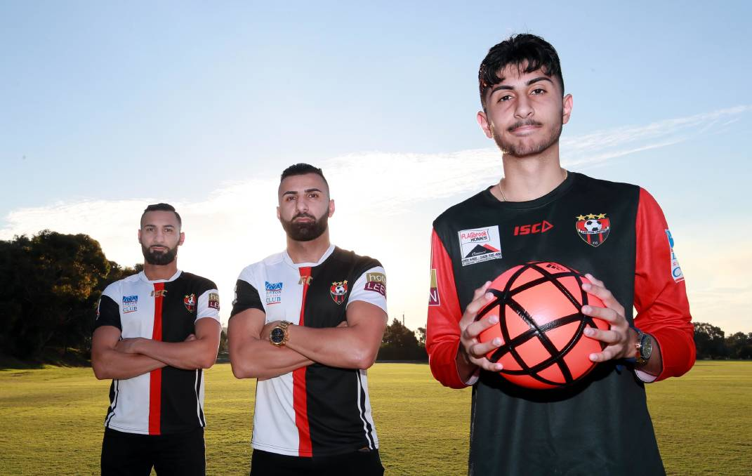 TERRIFIC TRIO: Brothers Fred and Henri Gardner will return to Leeton United for their Pascoe Cup title defence, while younger brother Eric (foreground) will join them. Picture: Les Smith