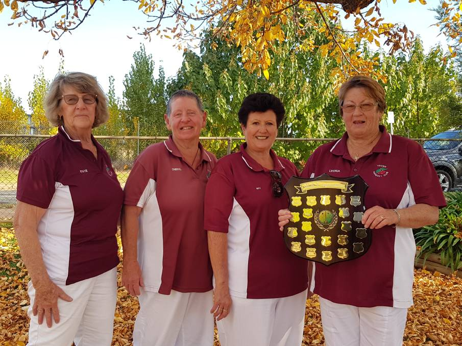 WINNERS: Young's team that took out the Three Way tournament at Wagga Croquet Club last Sunday; Faye Slater, Cheryl McInerney, Bev Johnson and Leona Drruett.