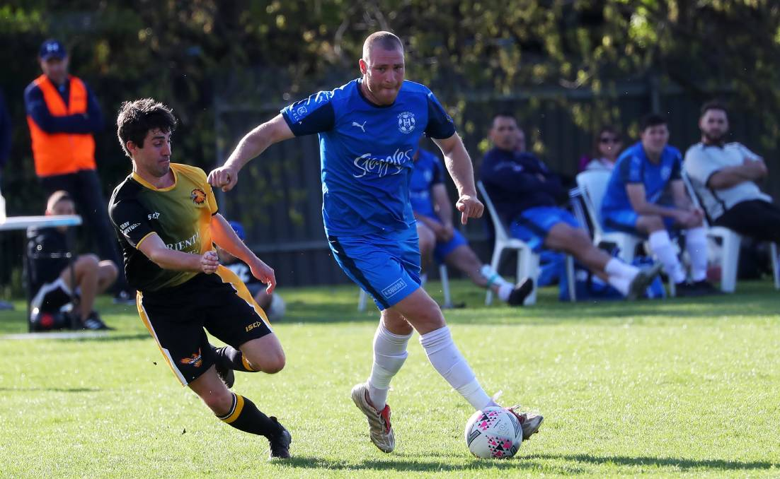 ON THE ATTACK: Daniel Johnson looks to take the ball forward for Hanwood in the 3-3 draw against Tumut at Rawlings Park on Sunday. Picture: Emma Hillier