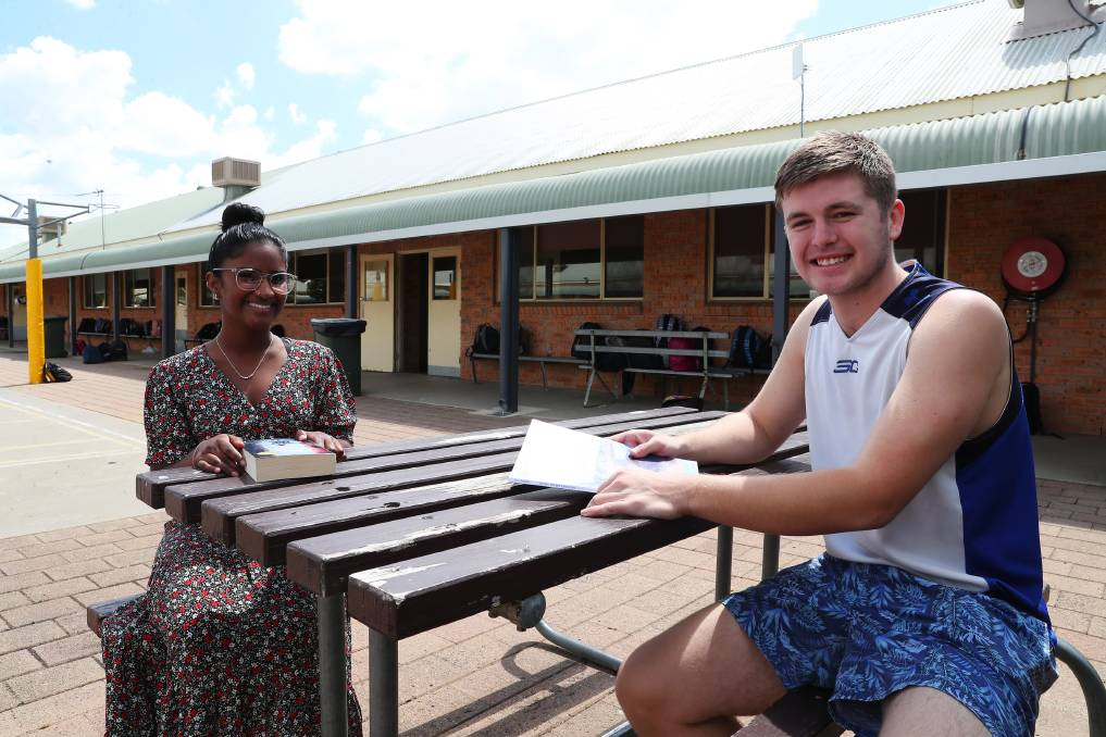 EXAM TIME: Eden Pappiah and Bailey Cox, both 18 and from the Christian College, have finished the first HSC hurdle with the English paper 1 now over. Picture: Emma Hillier