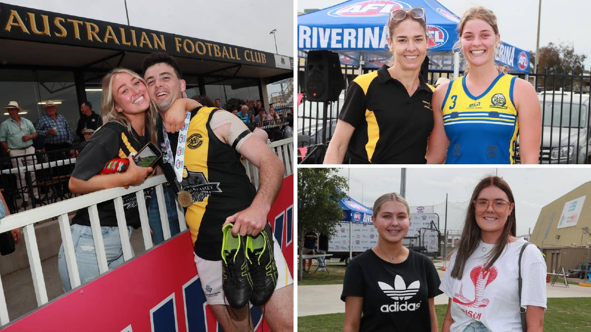 Happy faces all round at the AFL Riverina Championships grand final at the weekend. Pictures: Les Smith