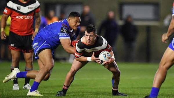 ON BOARD: Cootamundra's new signing Jordan Coleman, being tackled by Luciano Leilua, is the second New Zealand recruit to join the Bulldogs for 2020.