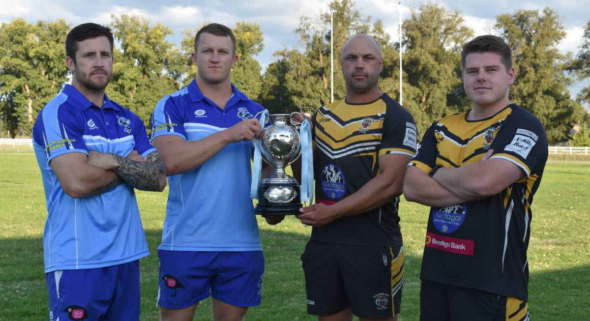 UP FOR GRABS: Tumut co-coaches Lachlan Bristow and Zac Masters and their Gundagai counterparts Luke Berkrey and Jarrod Crane are looking to take home the Maher Cup on Saturday. Picture: Courtney Rees