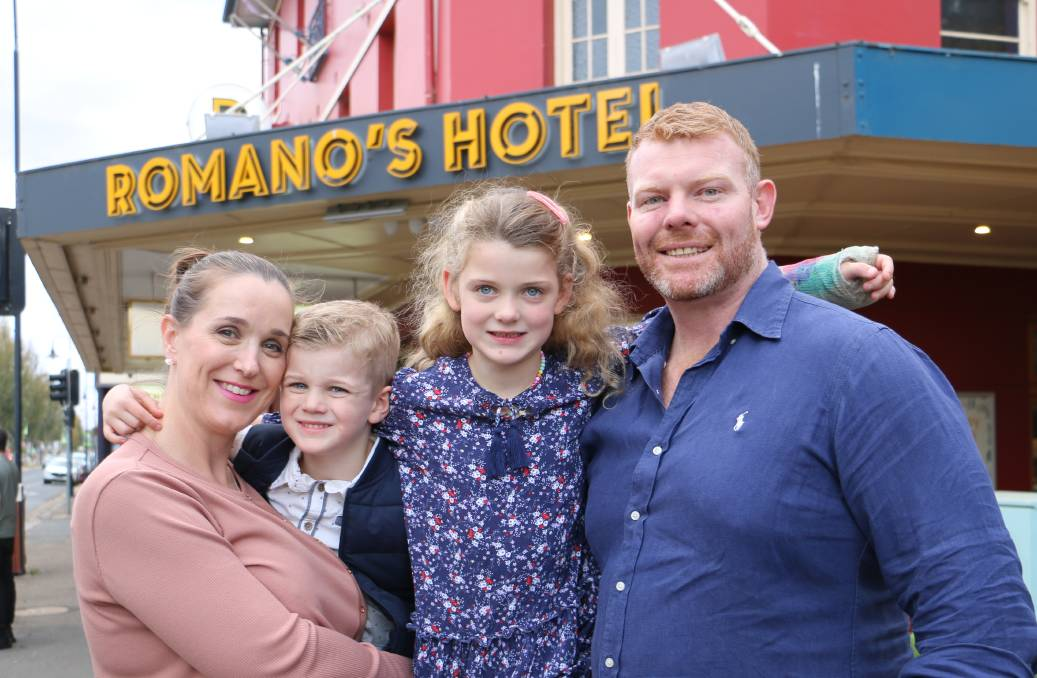 NEW ADVENTURE: It's an exciting time for Lauren, Thomas, 4, Adalyn, 6, and Mathew Oates as they prepare to take Romano's Hotel over by the end of the month. Picture: Jessica McLaughlin
