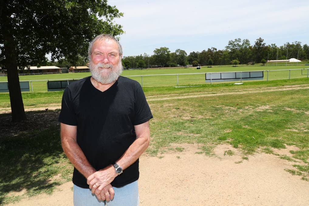 TAKING PRECAUTIONS: Laurie Blowes says having a container with sandbags, and other crucial equipment at McPherson's Oval will help put North Wagga residents' minds at ease. Picture: Emma Hillier