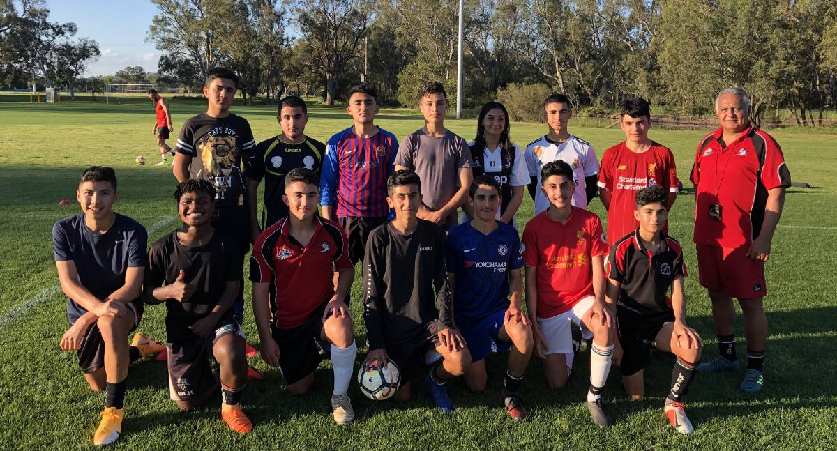 GRAND FINALISTS: Lake Albert Red at training on Tuesday night. They secured their shot at Football Wagga's Under 15-16 premiership with a semi-final win last Saturday. Picture: Peter Doherty