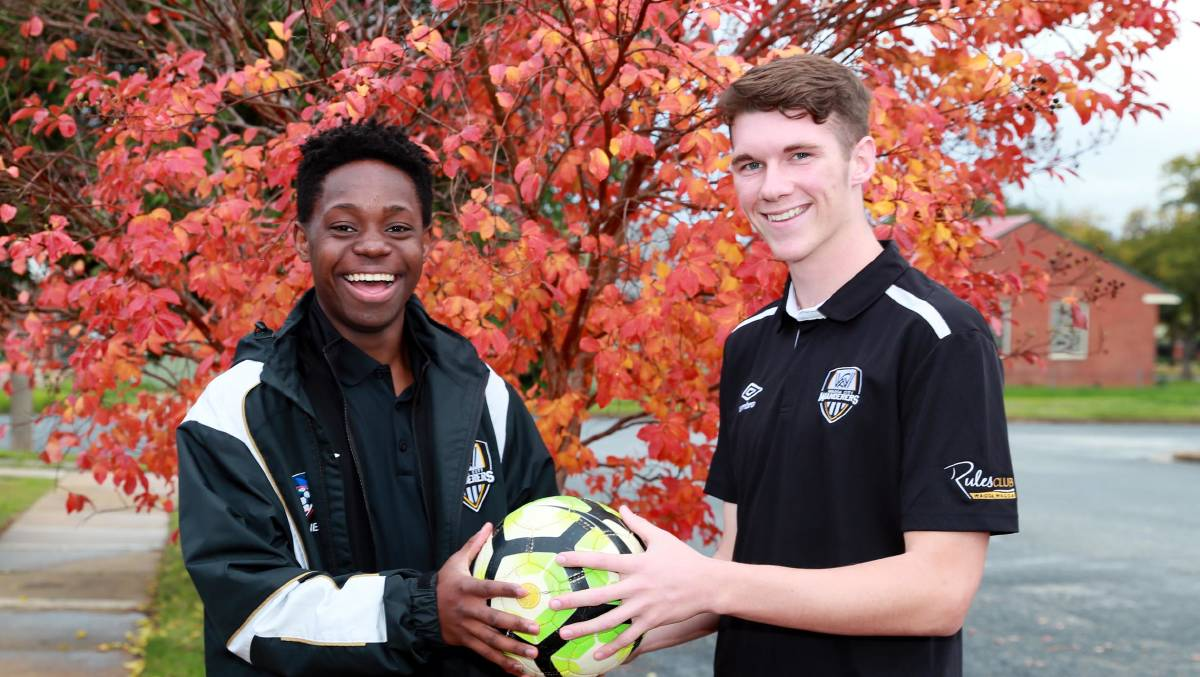 YOUNG GUNS: Ano Matowe and Luke Stevens earlier this year. They're part of the youthful look of Wagga City Wanderers' train-on squad.