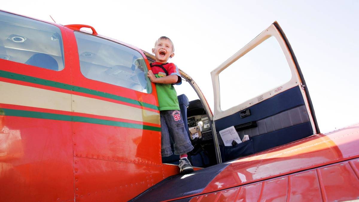 In 2008 Tyson Lindsay, 4, readies for his Angel Flight trip.