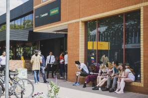 The line outside Centrelink in Braddon in March 2020. Picture: Dion Georgopoulos
