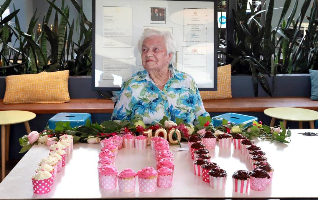 BIG DAY:: Molly van der Rijt celebrates her 100th birthday at the Kooringal Hotel with letters from the Queen and other dignitaries. Picture: LES SMITH