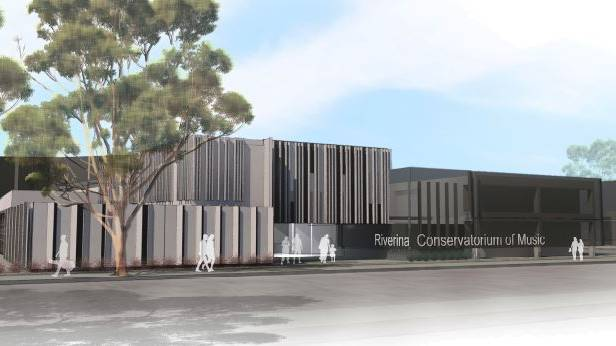 An artist's impression of how the completed second stage of the new Riverina Conservatorium of Music could look from Johnston Street.