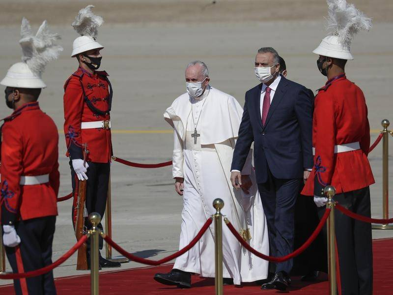 Pope Francis has been greeted by Iraqi Prime Minister Mustafa al-Kadhimi at Baghdad's airport.