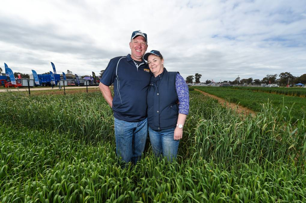 CUT: Jonathan and Leanne Bedggood at the Henty Machinery Field Days.