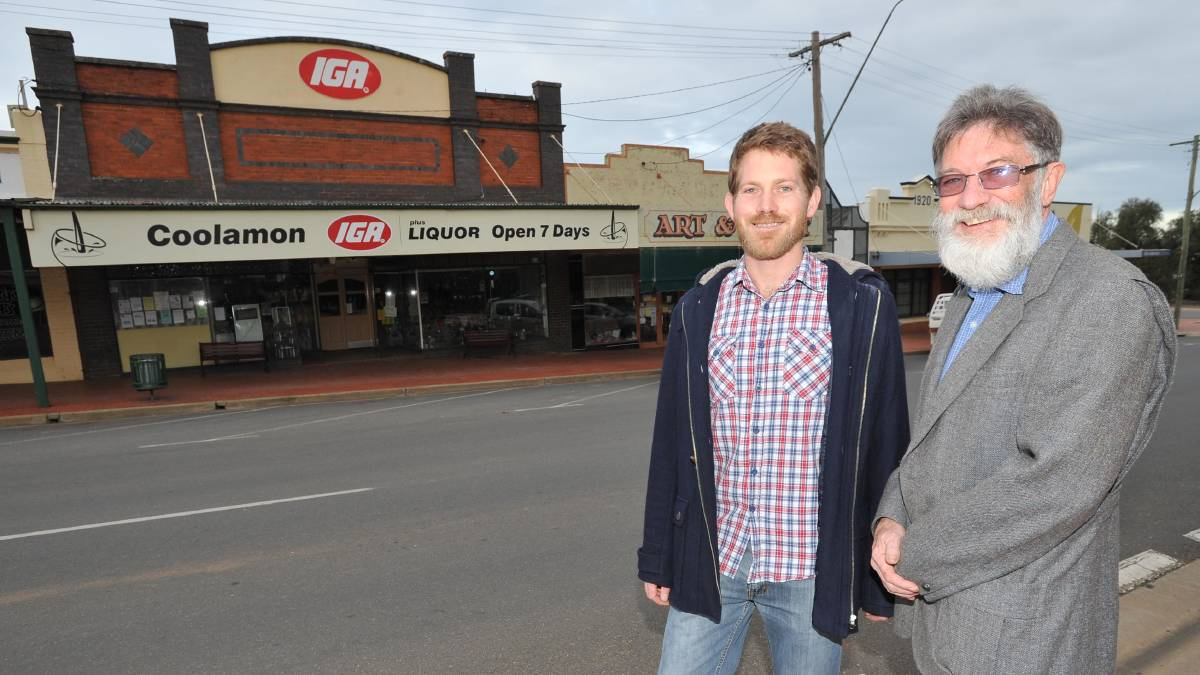 Coolamon Cheese directors Anton Green and Barry Lillywhite outside the IGA building they have secured for the town's cheese factory. Picture: Laura Hardwick