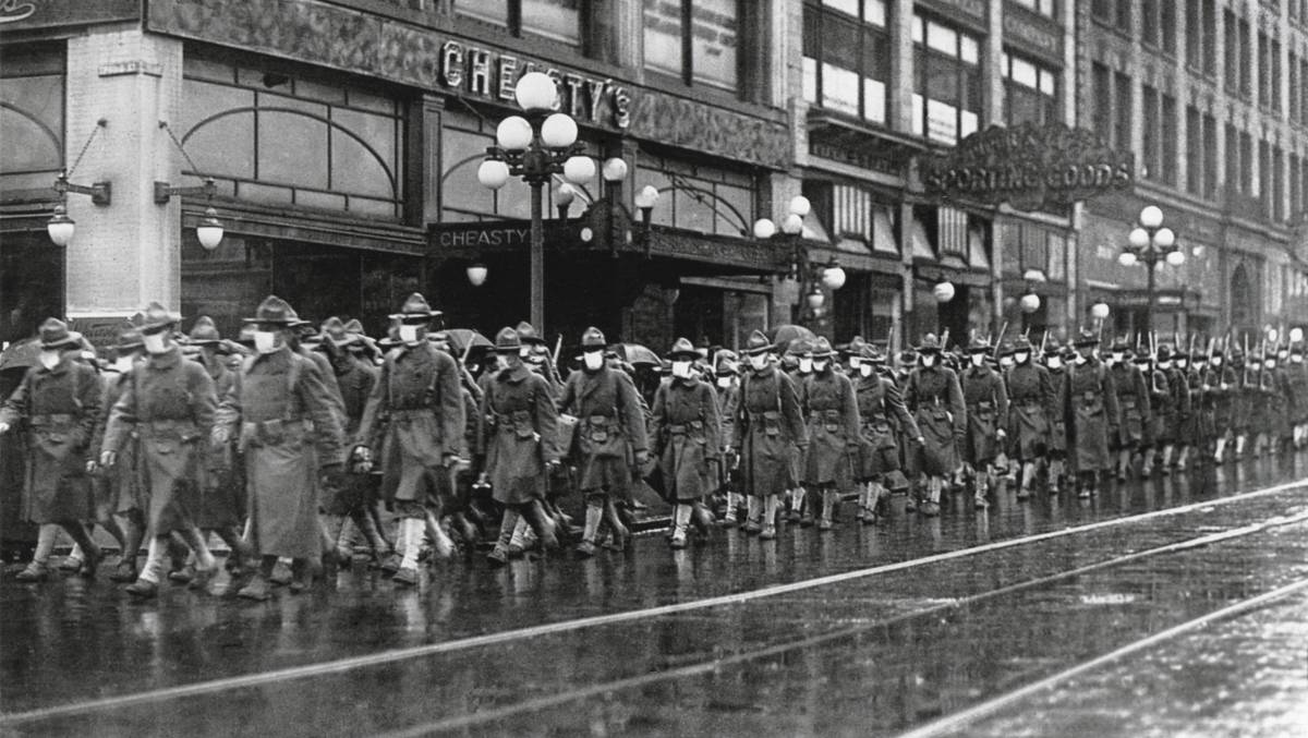 American soldiers in Seattle in December 1918, on their way to France during the influenza pandemic. Picture: Shutterstock