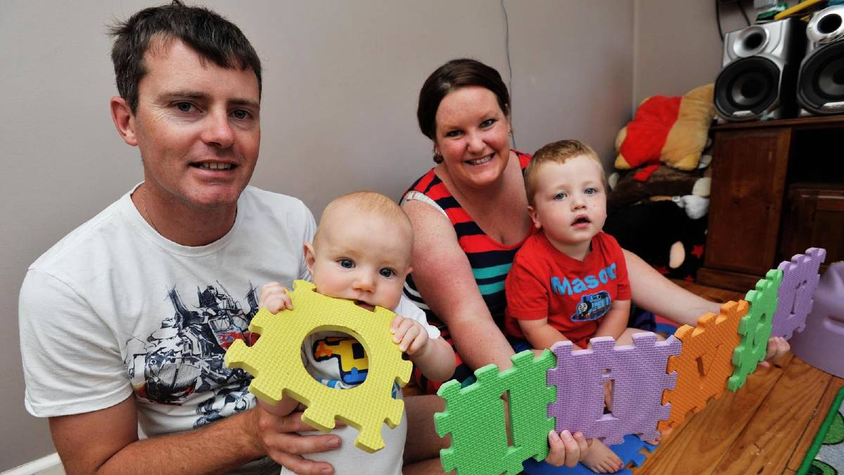 Baby Oliver Shephard, 6 months, father Adam, mother Melissa and older brother Mason, 2. Picture: Alastair Brook